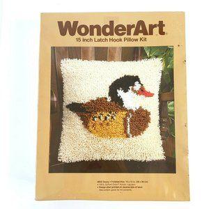 VTG WonderArt Latch Hook Pillow Kit Duck Decoy